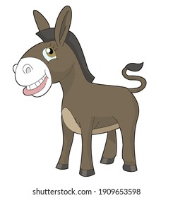 Mule or donkey in cartoon style. Digital illustration made in photoshop