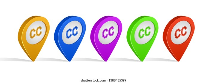 Multi color 3d pins of closed captioning sign icon