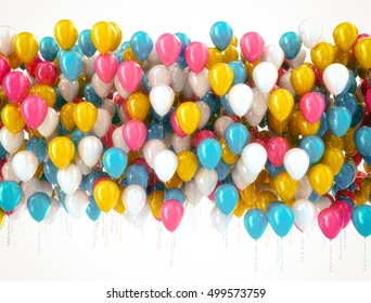 Multi color balloons isolated on white. 3D render