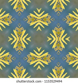Multi color gold, yellow, tan, blue, green symmetrical geometric pattern with diamond shapes. Abstract design, illustration for wallpaper, fabric, print