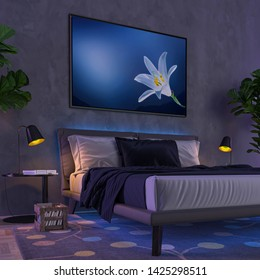 Multi Color interior lights - bedroom in night ambient with colored lights. 3D illustration