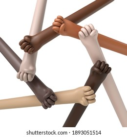 Multi ethnic hands in a circle. Political protest concept. 3D Rendering