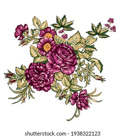 multi flowers  motif ornament  Seamless pattern with watercolor flowers pink roses, repeat floral texture, vintage background hand drawing. Perfectly for wrapping paper, wallpaper fabric print