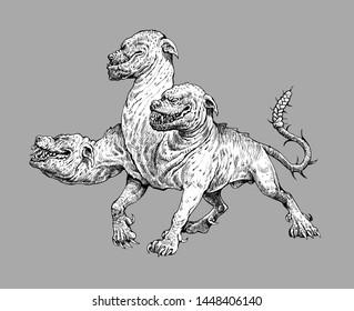 Multi headed dog Cerberus drawing. Hound of Hades. Greek mythology illustration.