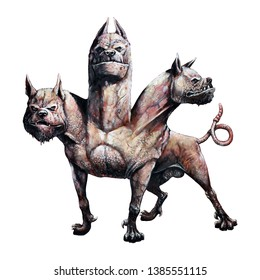Multi headed dog Cerberus illustration. Hound of Hades. Greek mythology.