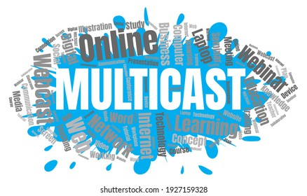 Multicast or Web Conference Word Cloud. Webinar Collage or Multicast Concept  Illustration