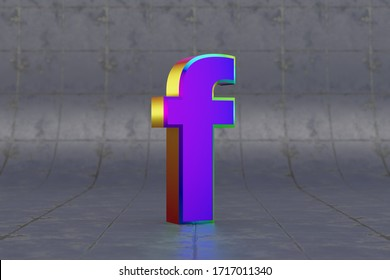 Multicolor 3d letter F lowercase. Glossy iridescent letter on tile background. Metallic alphabet with studio light reflections. 3d rendered font character.