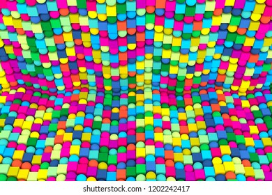 Multicolor abstract background with cube on the sphere 3d illustration