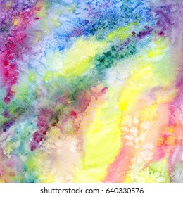Multicolor abstract background. Watercolor art background with yellow, red, green, pink splashes. University art background. Wallart painting for home decor. Interior wallart.