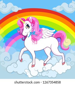 Multicolor cartoon kids Illustration of white pony unicorn princess character with big eyes, golden horn, feather wings, hooves on the cloud with rainbow. Long pink hair, mane, tail. Banner.