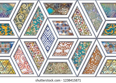 Multicolor Digital Wall Tile Decor For interior Home or Ceramic wall tile Design.Seamless colorful patchwork in turkish style, wallpaper, linoleum, textile, web page background.