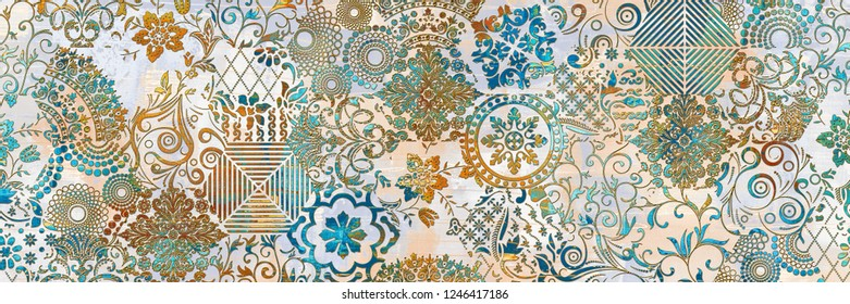 Multicolor Digital Wall Tile Decor For interior Home or Ceramic wall tile Design, Heavily Mixed Wall Art Decor For Home, wallpaper, linoleum, textile, web page background.