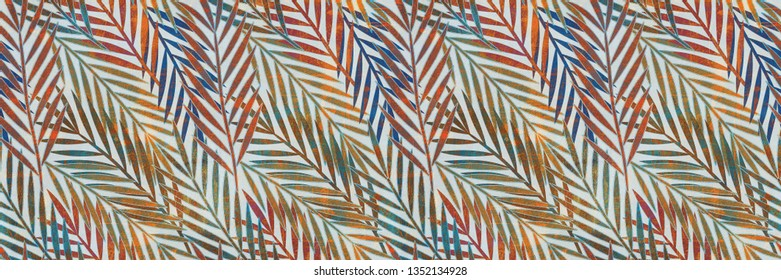 Multicolor Digital Wall Tile Decor For interior Home or Ceramic wall tile Design, Heavily Mixed Wall Art Decor For Home, wallpaper, linoleum, textile, web page background, palm leaves texture.