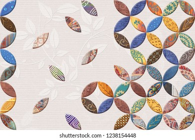 Multicolor Digital Wall Tiles Decor For Interior Home Decoration, Wall Tile Design For Bathroom, Seamless colorful patchwork in turkish style, wallpaper, linoleum, textile, web page background.
