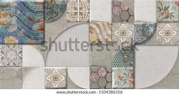 Multicolor Digital Wall Tiles Decor Interior Stock Illustration 1504386356