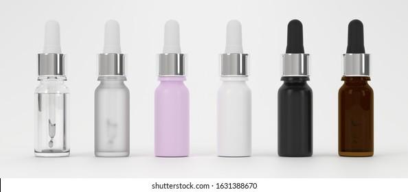 Multicolor dropper bottles mockup. CBD pipette bottles mockup. Serum dropper botlles. Vape liquid in glass bottle, 3d rendering