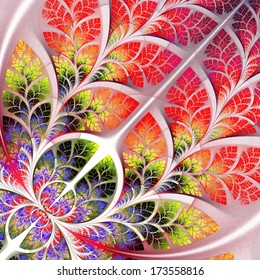 Multicolor fabulous fractal pattern. Collection - tree foliage. Computer generated graphics.