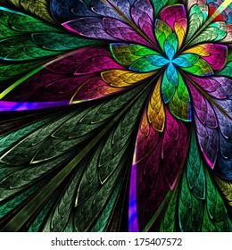 Multicolor fractal flower on black background. Computer generated graphics.