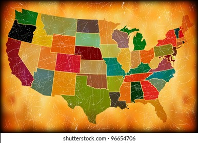 Multicolor Grunge USA Map