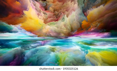 Multicolor Landscape. Color Dreams series. Composition of  paint, textures and gradient clouds for projects on inner world, imagination, poetry, art and design