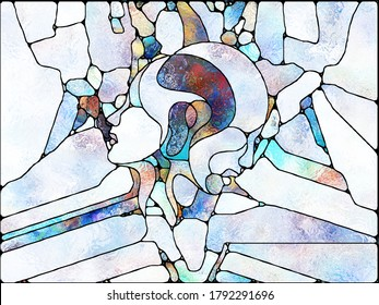 Multicolor Light. Unity of Stained Glass series. Design composed of pattern of color and texture fragments as a metaphor for unity of fragmentstion, art, poetry and design