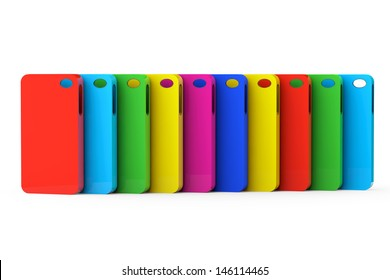 MultiColor Mobile Phone plastic cases on a white background