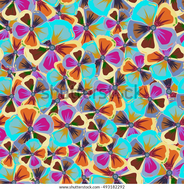 Multicolor ornament of small simple flowers, abstract seamless pattern for design and textile.