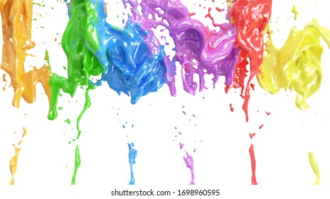 Multicolor Paint Splash Flow Down on white wall. 3D Rendering