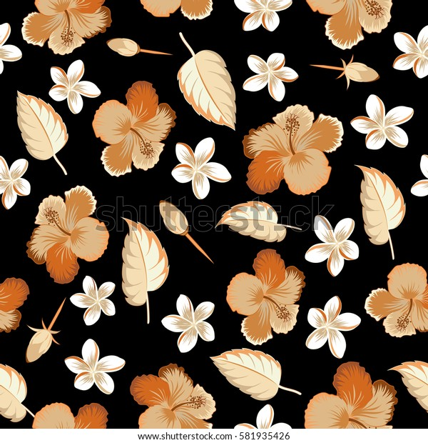 Multicolor pattern on black background. Vintage tropical hibiscus flowers, leaves and buds.