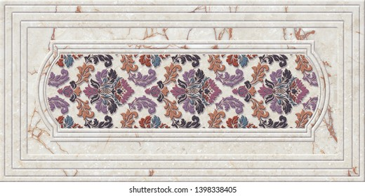 Multicolor Pattern Wall Tile Decor with Marble Frame, Wall Tile Ceramic Design, linoleum, textile, web page background