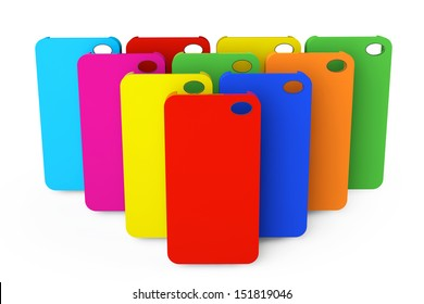 MultiColor plastic mobile phone cases on a white background