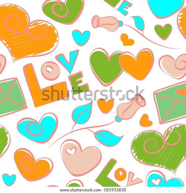 Multicolor seamless pattern on a white. Green, yellow and pink hearts, love letter, rose flower and love text seamless pattern on white background.