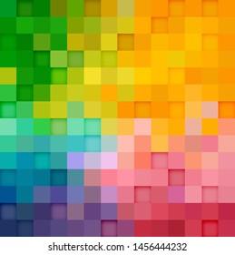 Multicolor square pattern. Quadrangle background. Illustration