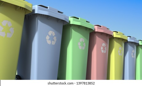 Multicolor trashcans for different kinds of recycled waste materials. 3D rendering