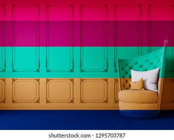 Multicolor trend interior with armchairs on the background of decorative carved moldings. 3d render