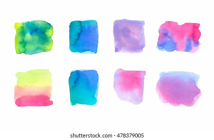Multicolor watercolor background, eight gradient brush strokes, yellow and orange, red, blue, green, pink and purple. Perfect with white words on it.