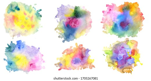 multicolor watercolor paint stains, color blobs, set of artistic elements for cover design