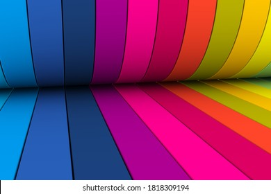 Multicolor wave lines abstract background 3D render illustration
