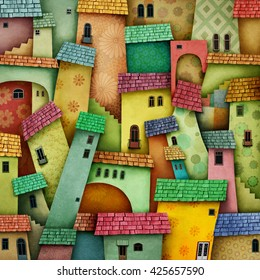 Multicolored background with bright houses