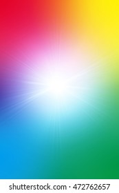 Multi-colored background image showing color spectrum with light glowing out of the middle.