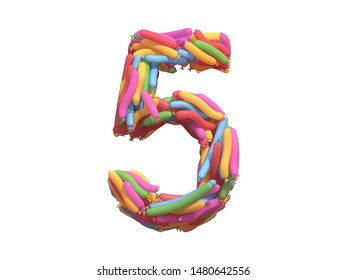 Multicolored balloon font. 3d rendering.