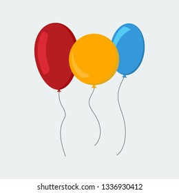 Multi-colored balloons in a flat style isolated on white background.