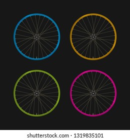 Multicolored Bicycle Rims on a Black Background. Bike Rims of Different Colors and Spokes. Blue, Yellow, Green and Purple Rims. Realistic Illustration.