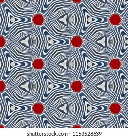 Multicolored black and white symmetrical geometric zebra pattern with red shapes. Abstract design, illustration for wallpaper, fabric, print
