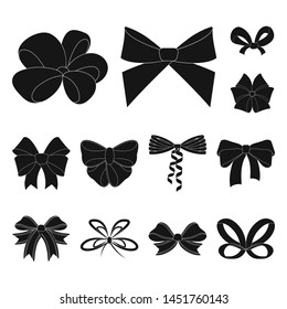 Multicolored bows black icons in set collection for design.Bow for decoration bitmap symbol stock web illustration.