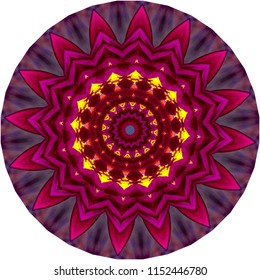 Multicolored bright yellow, blue, red, pink, purple, orange, red mandala. Decorative element, ethnic design, web design, anti-stress therapy, meditation.
