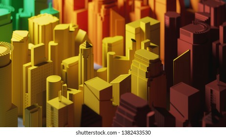 Multi-colored buildings. Multi-colored buildings, aerial view. Colored miniature skyscrapers. 3d illustration