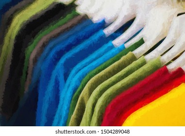 Multicolored clothes in row on hanger. Clothes shop digital illustration. Summer seasonal wear in department store. Unisex apparel for warm weather. Sale in shopping mall. Retail concept art print