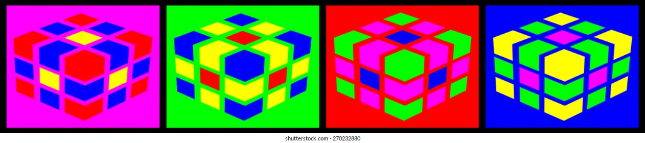 multicolored cubes on colored backgrounds