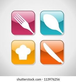 Multicolored cutlery web icons set. Restaurant and food industry background.